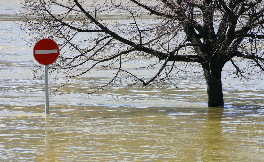 flooding off limits sign
